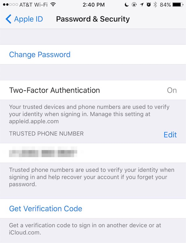 Changing security information in iCloud settings