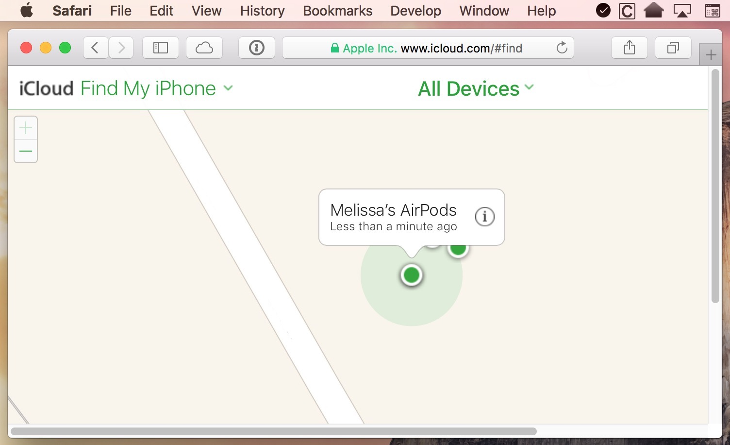 iCloud.com includes a Find my iPhone page you can use to locate your AirPods