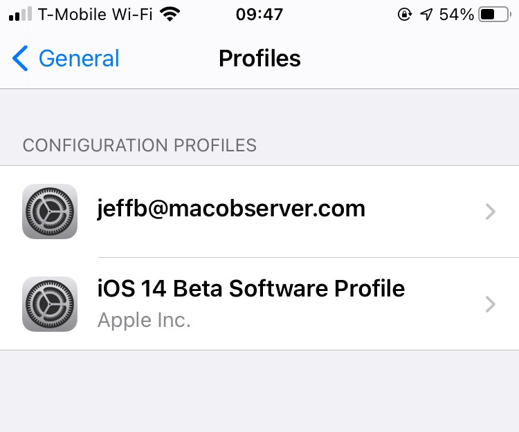 Listing of Profiles in iOS - sending encrypted email in iOS Mail