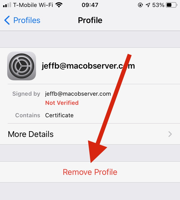Deleting a profile in iOS - encrypting email with iOS Mail