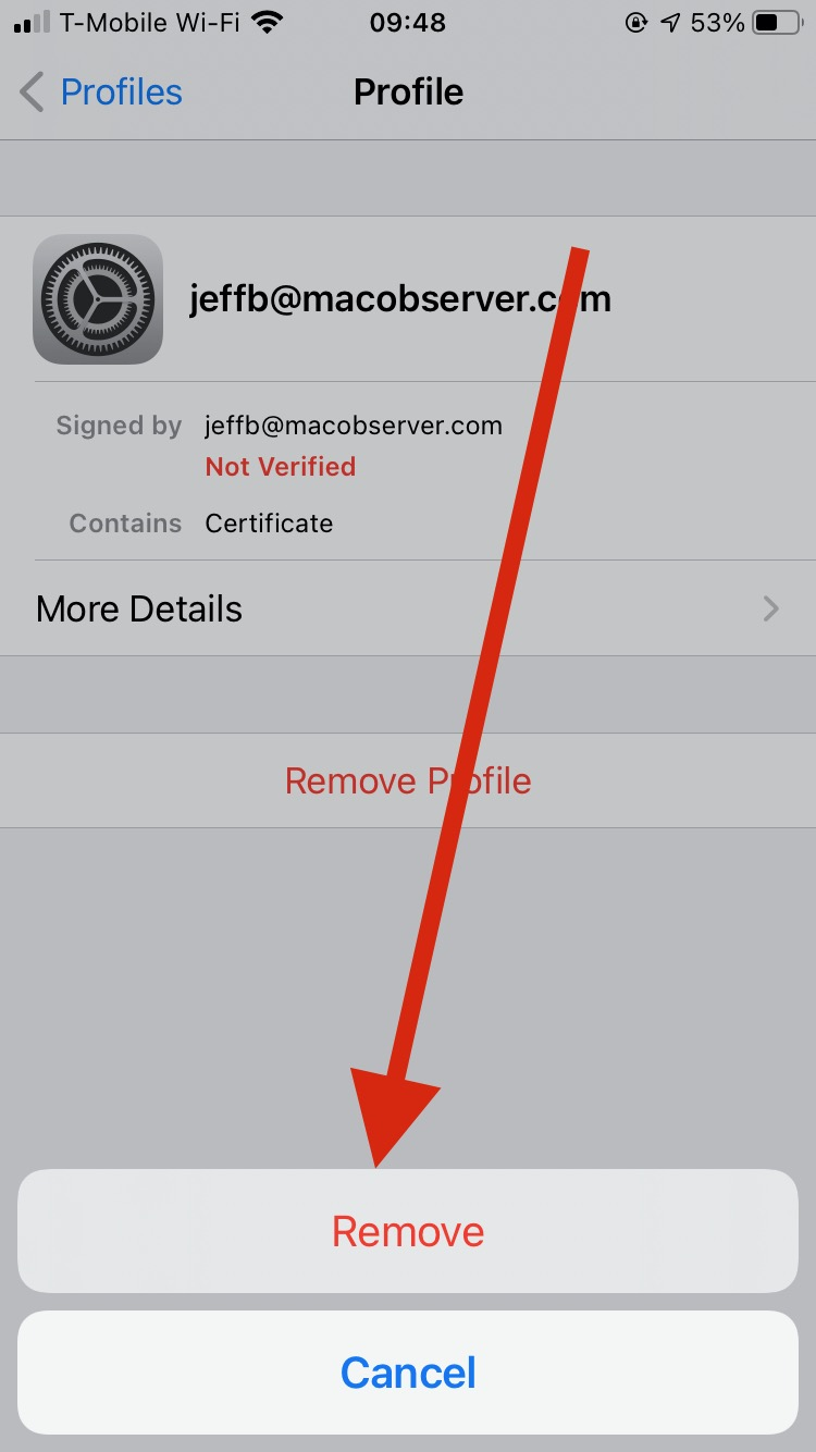 Tap Remove a final time to delete the profile - encrypting email with iOS Mail