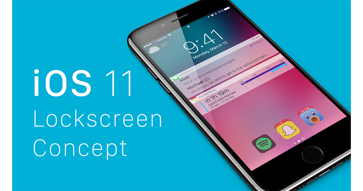 Matt Birchler's iOS 11 iPhone lock screen concept