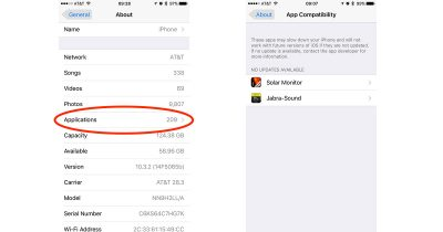 Settings > General > About > App Compatibility shows which iOS apps are still 32-bit
