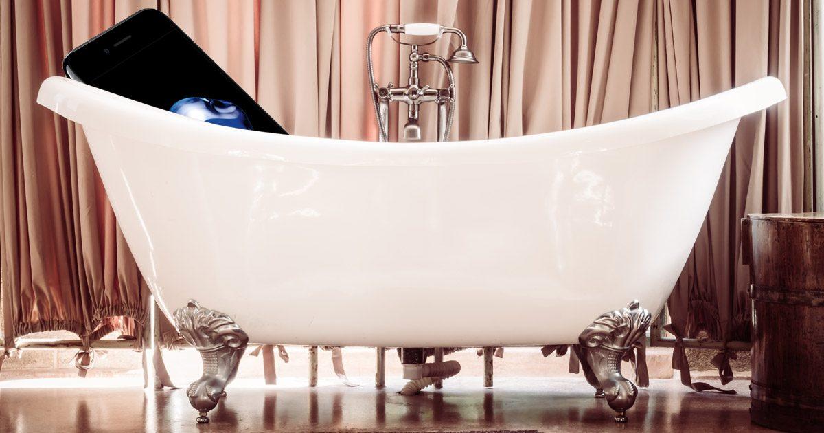 An iPhone in a bath tub