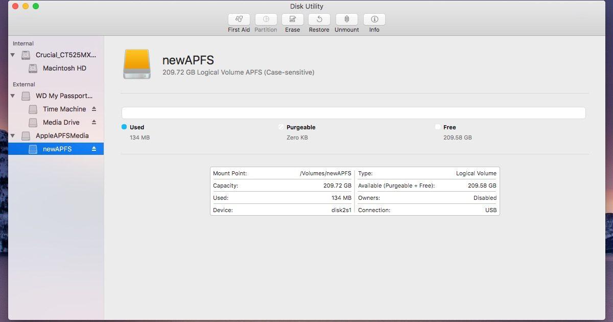 An APFS drive on macOS Sierra