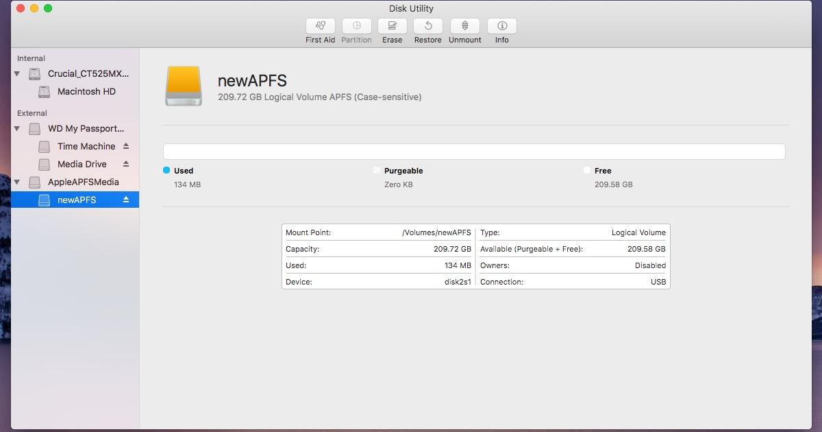 An APFS volume on macOS Sierra