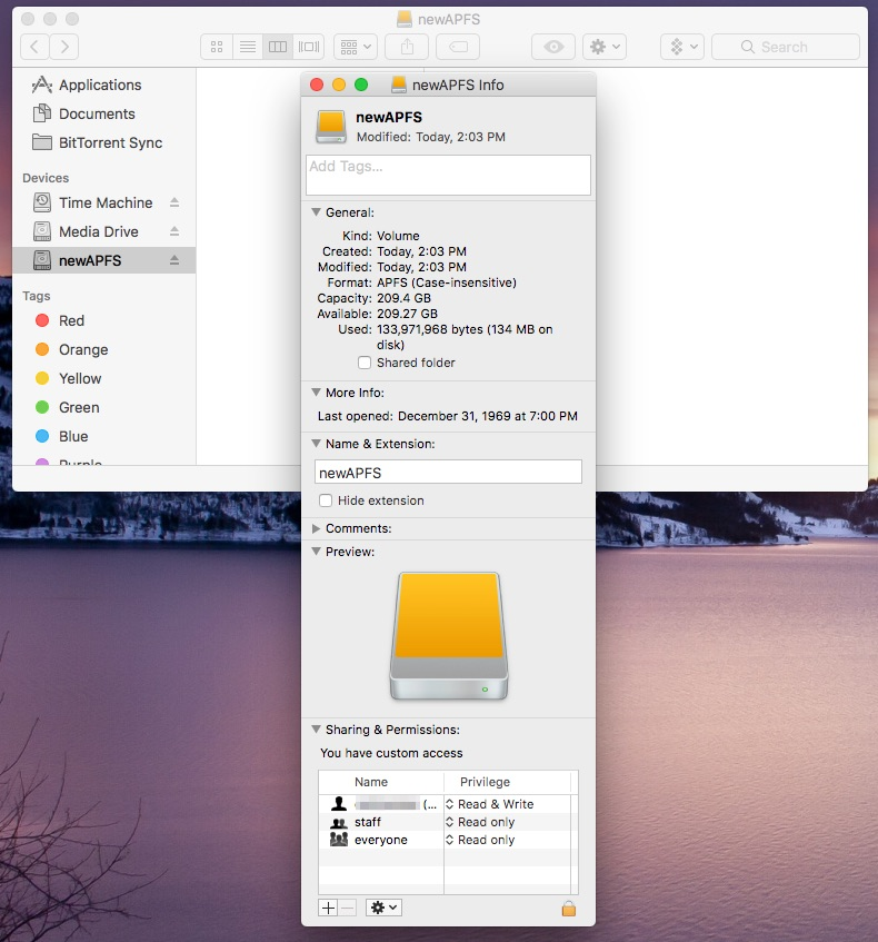An APFS drive in Finder on macOS Sierra 10.12.4