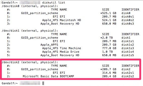 Output of diskutil list in preparation for creating an APFS drive