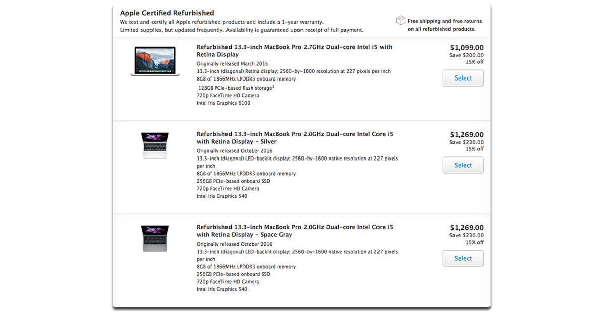 13-inch Retina 2016 MacBook Pro Available on Apple's Refurbished Store