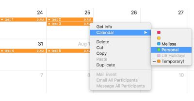 how to move a group of events to a different calendar in the macOS Calendar app