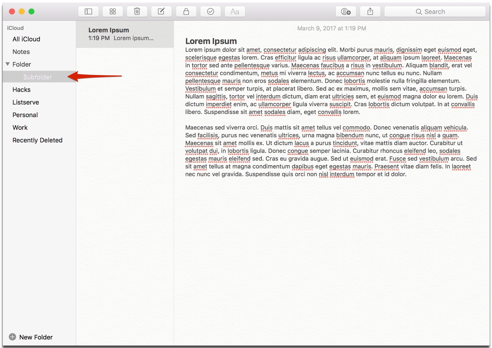 creating Apple notes subfolders