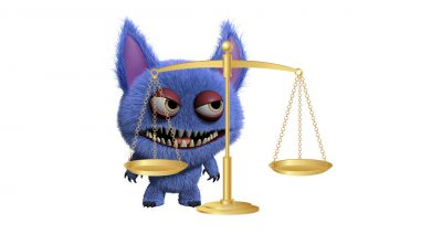 A troll unhappy with the scales of justice