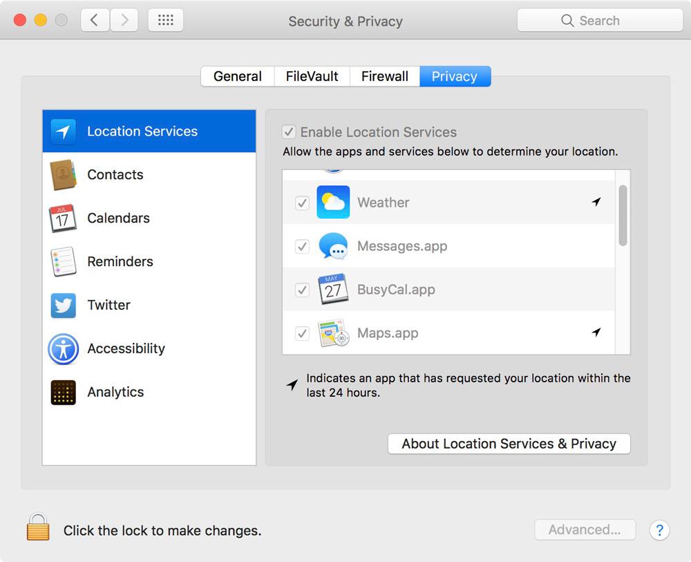 Privacy Tab in Security & Privacy Settings in macOS Sierra 10.12.4