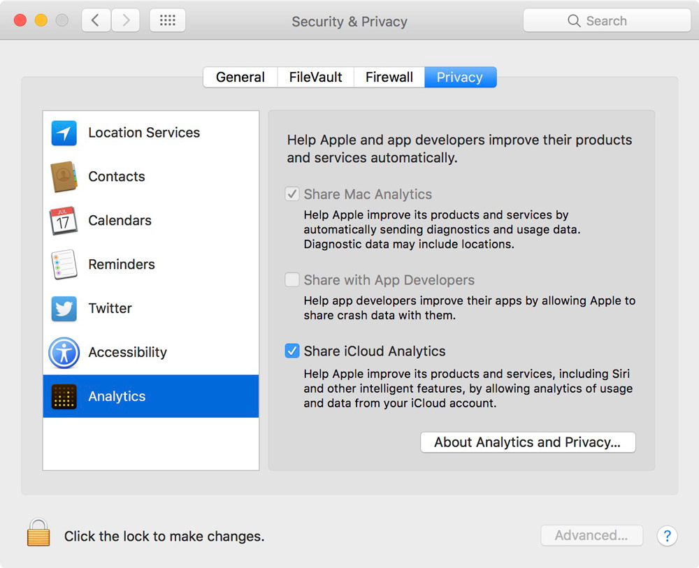 Analytics Pane of Privacy Settings in macOS Sierra 10.12.4