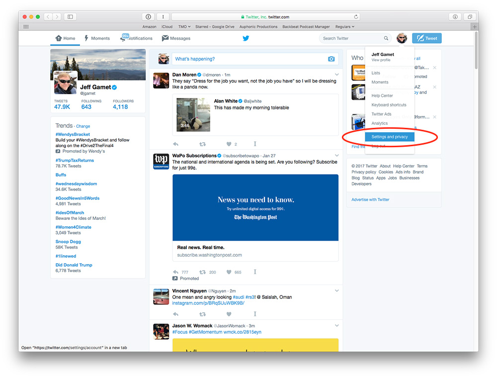 Twitter's Settings and privacy options are available through your account avatar on the Twitter website