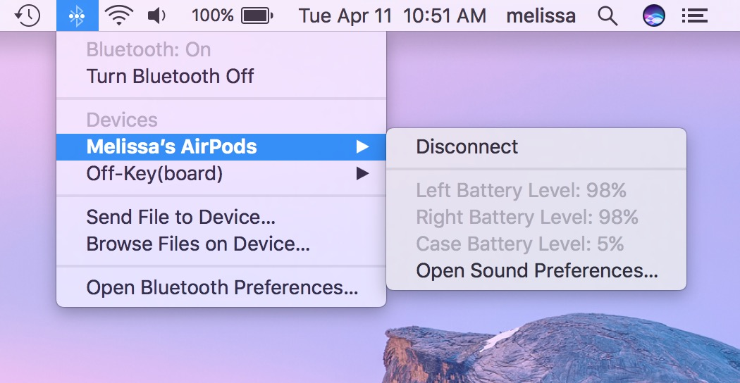 Mac Bluetooth menu showing AirPods battery level