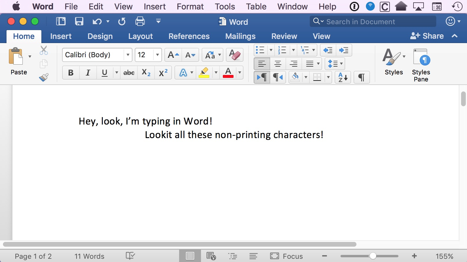 Word text with formatting invisible characters, or nonprinting characters, hidden