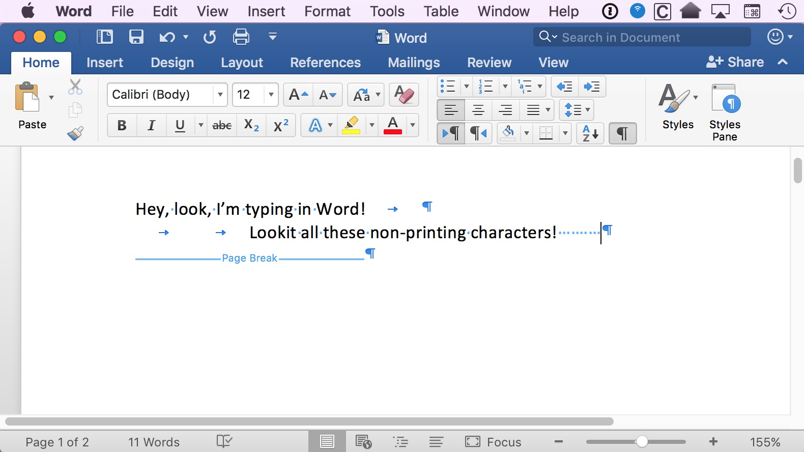 Word text with invisible characters, or nonprinting characters, showing