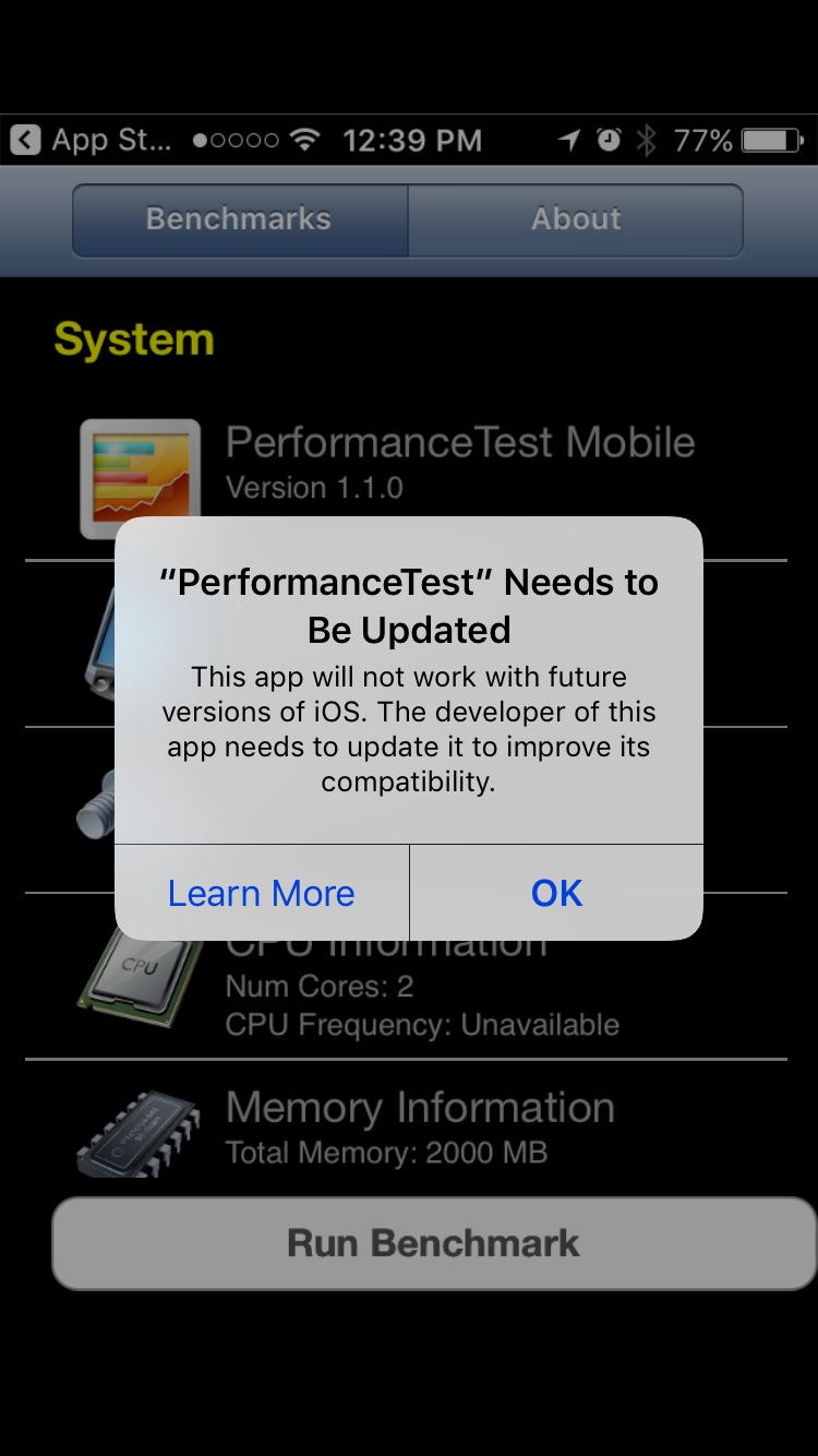 Incompatibility report in PerformanceTest Mobile - APFS in iOS