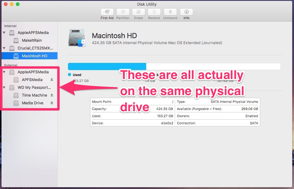 Delete your APFS Partition the right way - viewing the volumes in Disk Utility