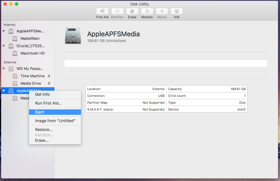 Use Disk Utility to eject your APFS container before you delete your APFS partition