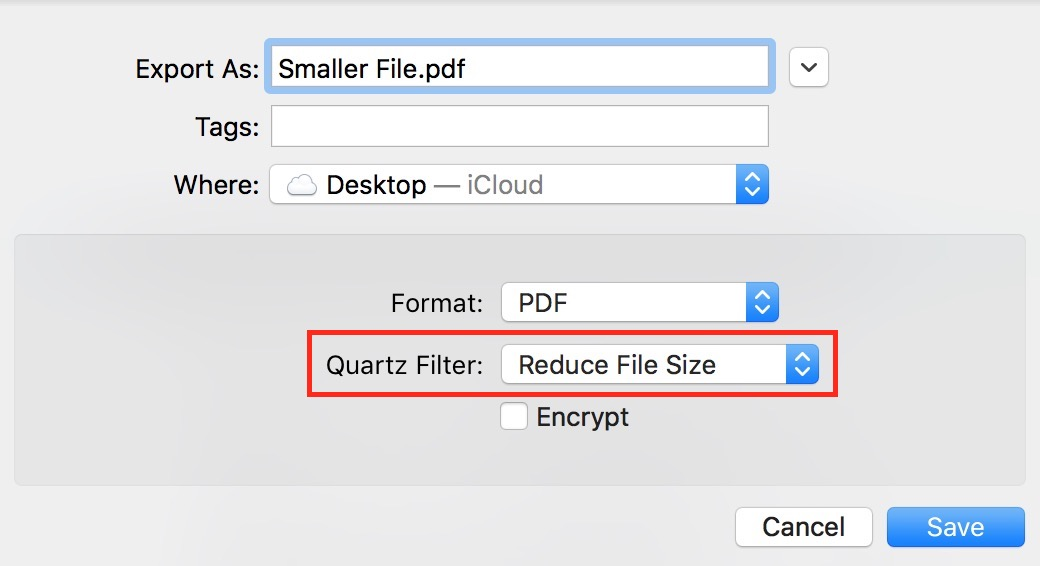 The Reduce File Size option in Preview's Export option