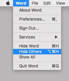 The ever-so-useful Hide and Hide Others commands and their keyboard shortcuts.