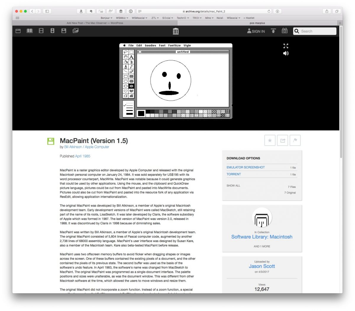 What a blast—the original MacPaint in all its monochromatic glory!