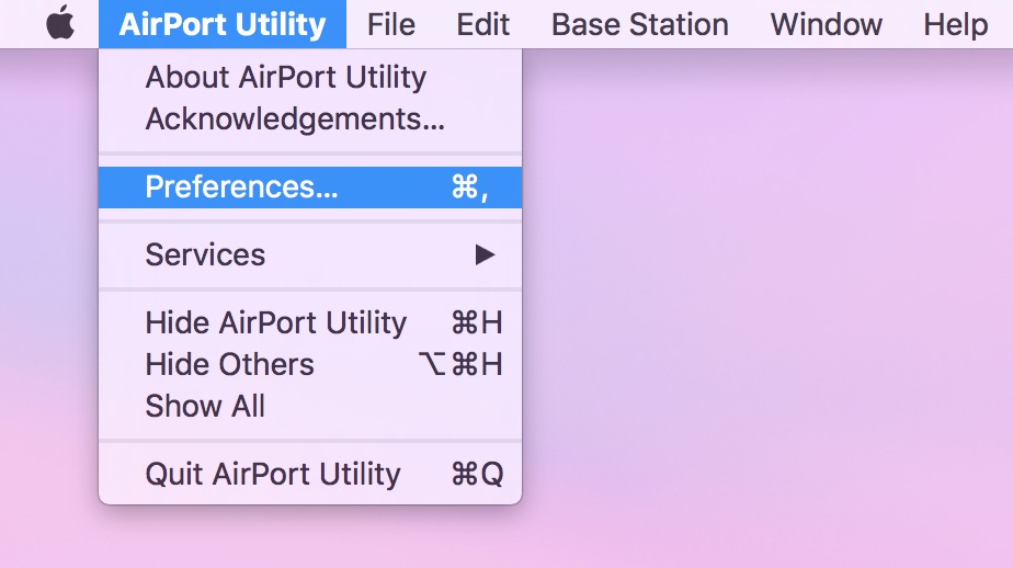 AirPort Utility Preferences lets you customize when Basestations check for software updates