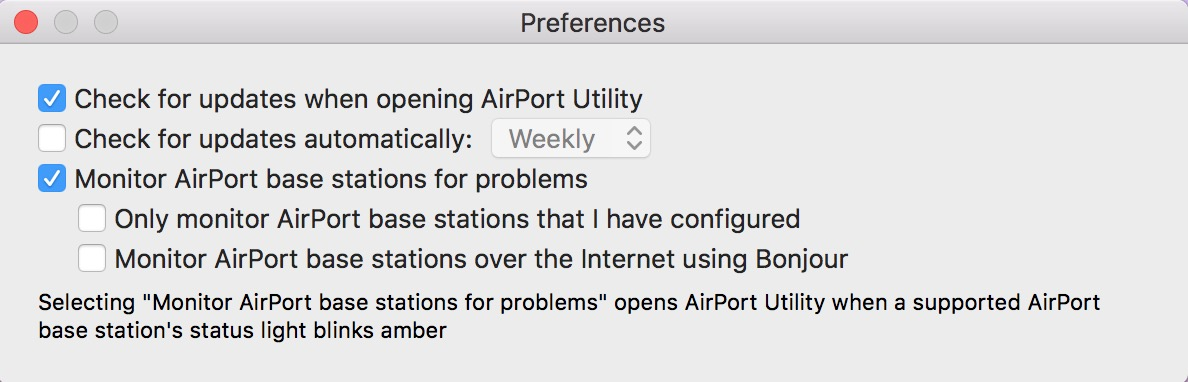 Use AirPort Utility Preferences to set automatic or manual software update checks