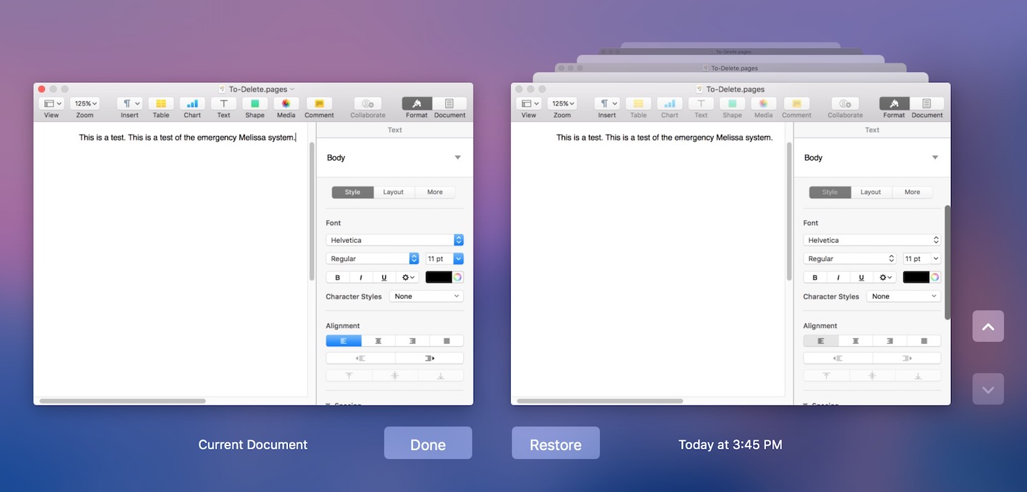 Using Restore a Copy in macOS to browse document versions to find the one you want to remove