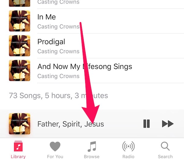 Bring up the mini player to get song lyrics in Apple Music