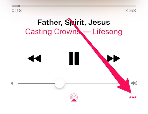 Tap the three dots for the menu to show song lyrics in Apple Music