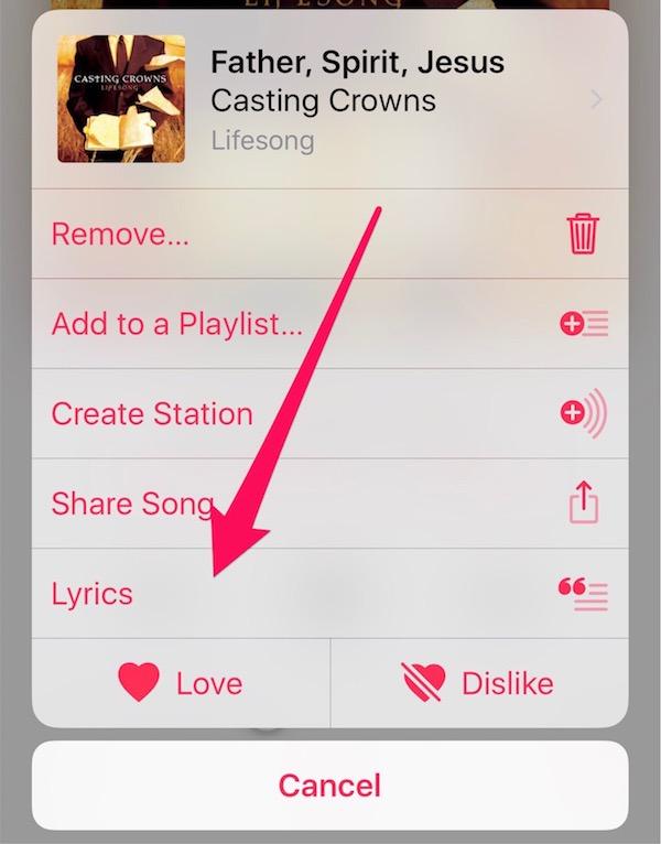 Tap lyrics to get to the song lyrics in Apple Music
