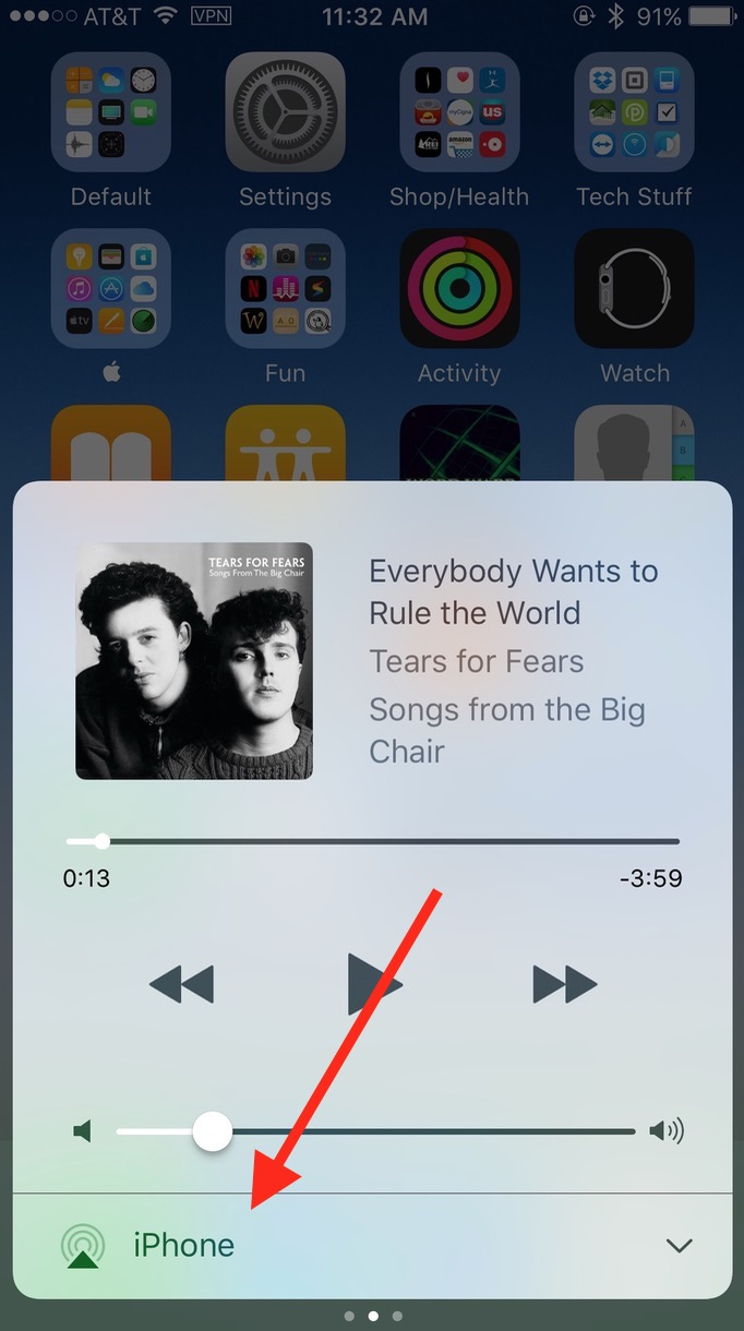 Speaker Option in iOS for seeing AirPods battery level