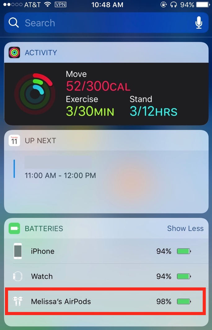Today View showing AirPods battery level