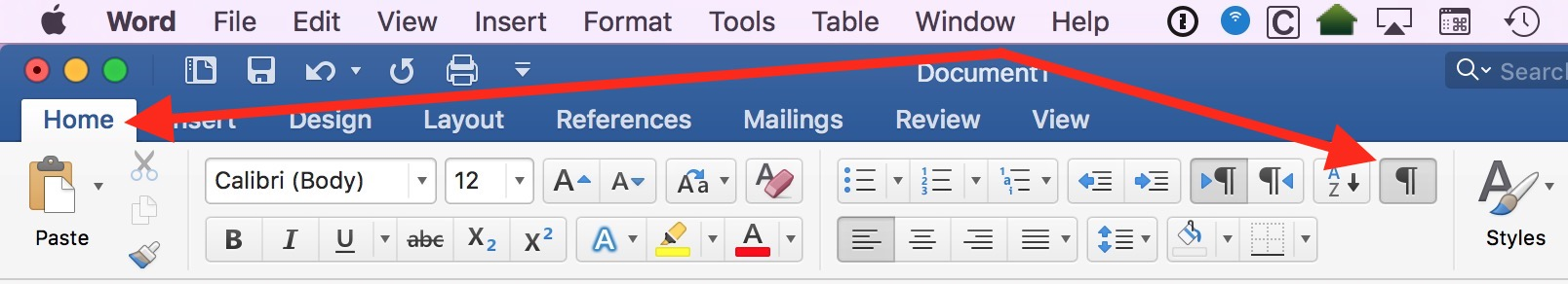 Home Tab in Word shows the Paragraph button, which shows or hides invisible characters (nonprinting characters)