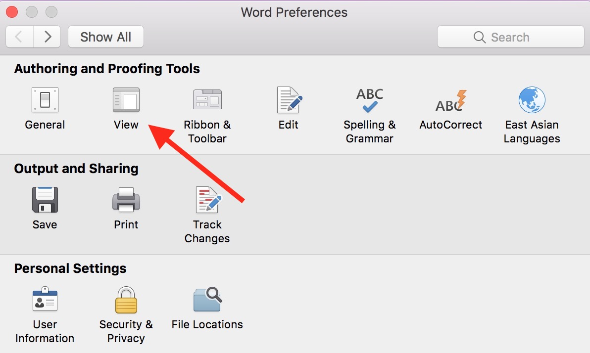 The View option in Word Preferences lets you set specific invisible characters, or nonprinting characters, to always show