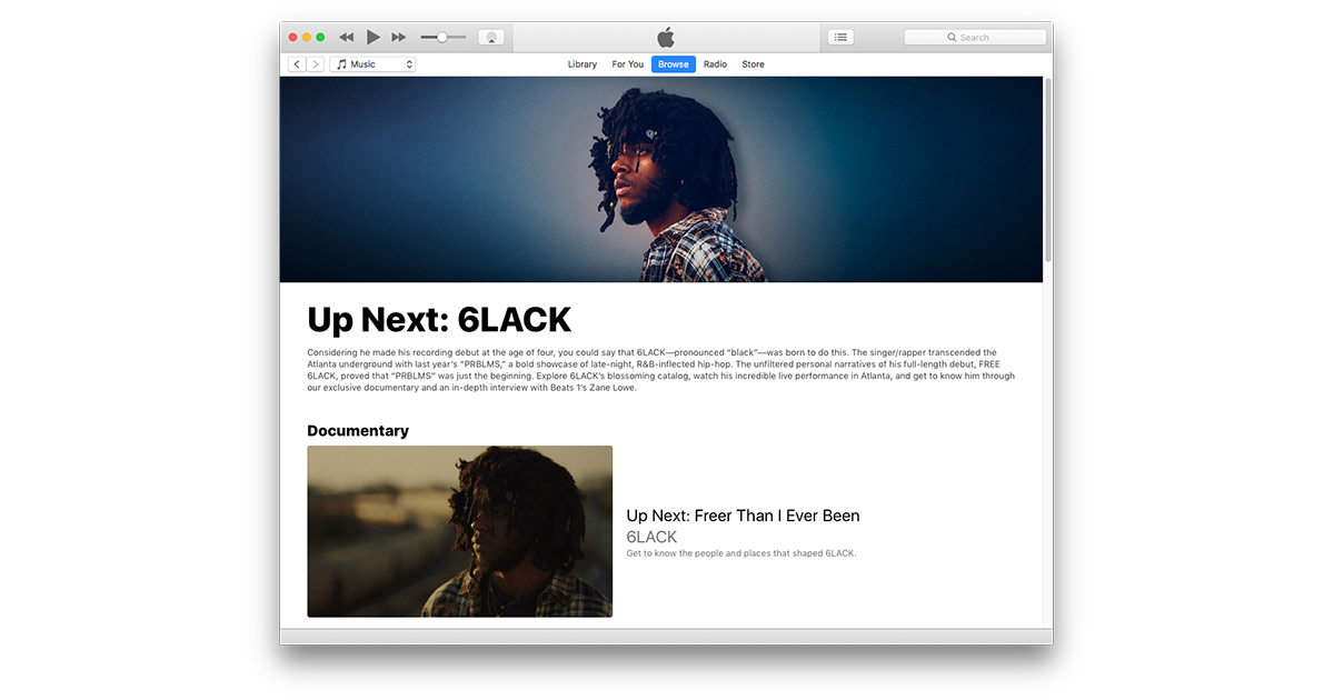 Up Next is a new interview series on Apple Music starting with 6LACK