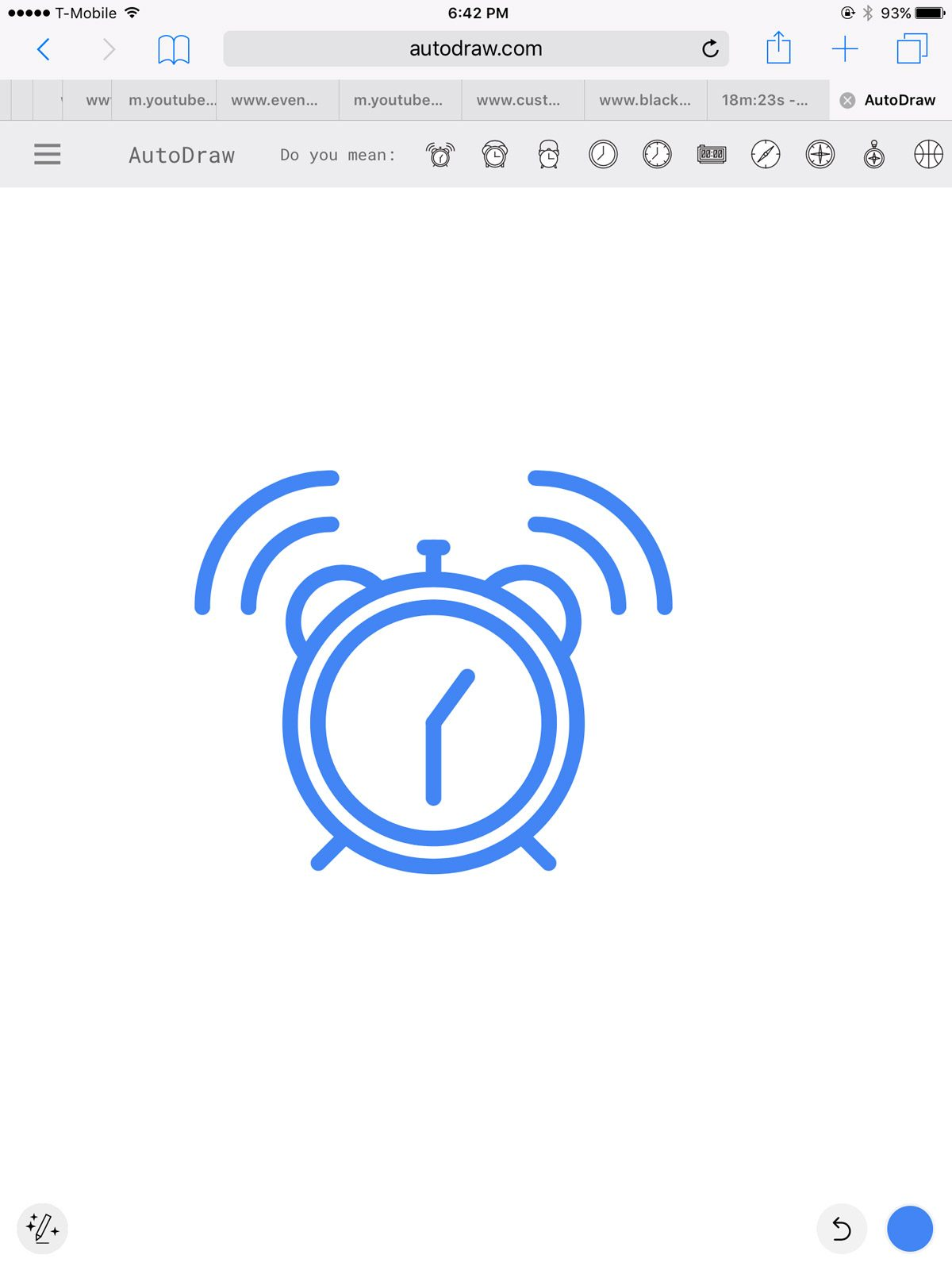 AutoDraw Suggestion of a clock