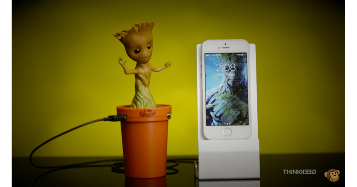 Think Geek's dancing baby Groot smartphone charger for you car is as awesome as it sounds