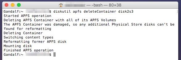 Delete your APFS partition