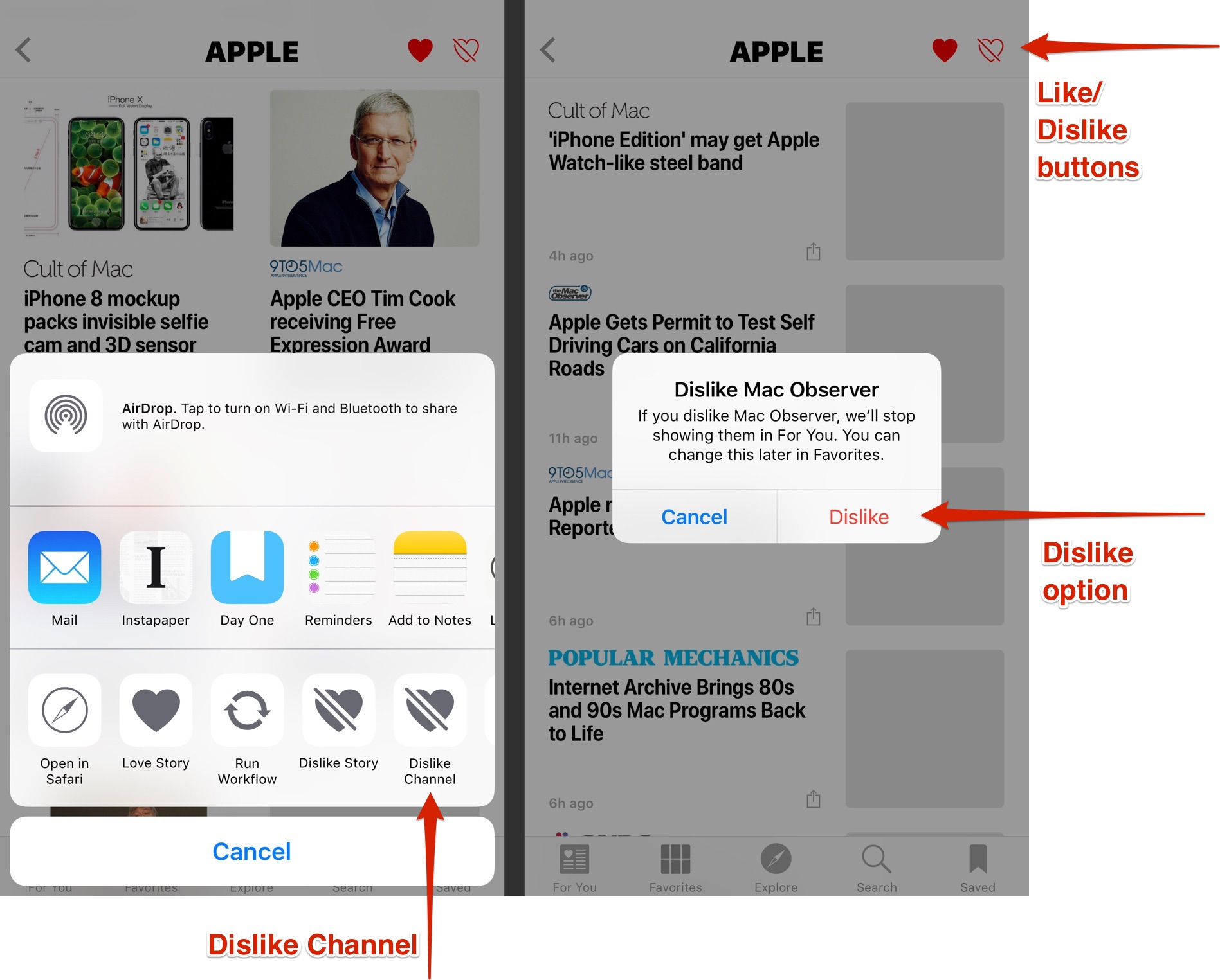 Steps to dislike a news source in Apple News
