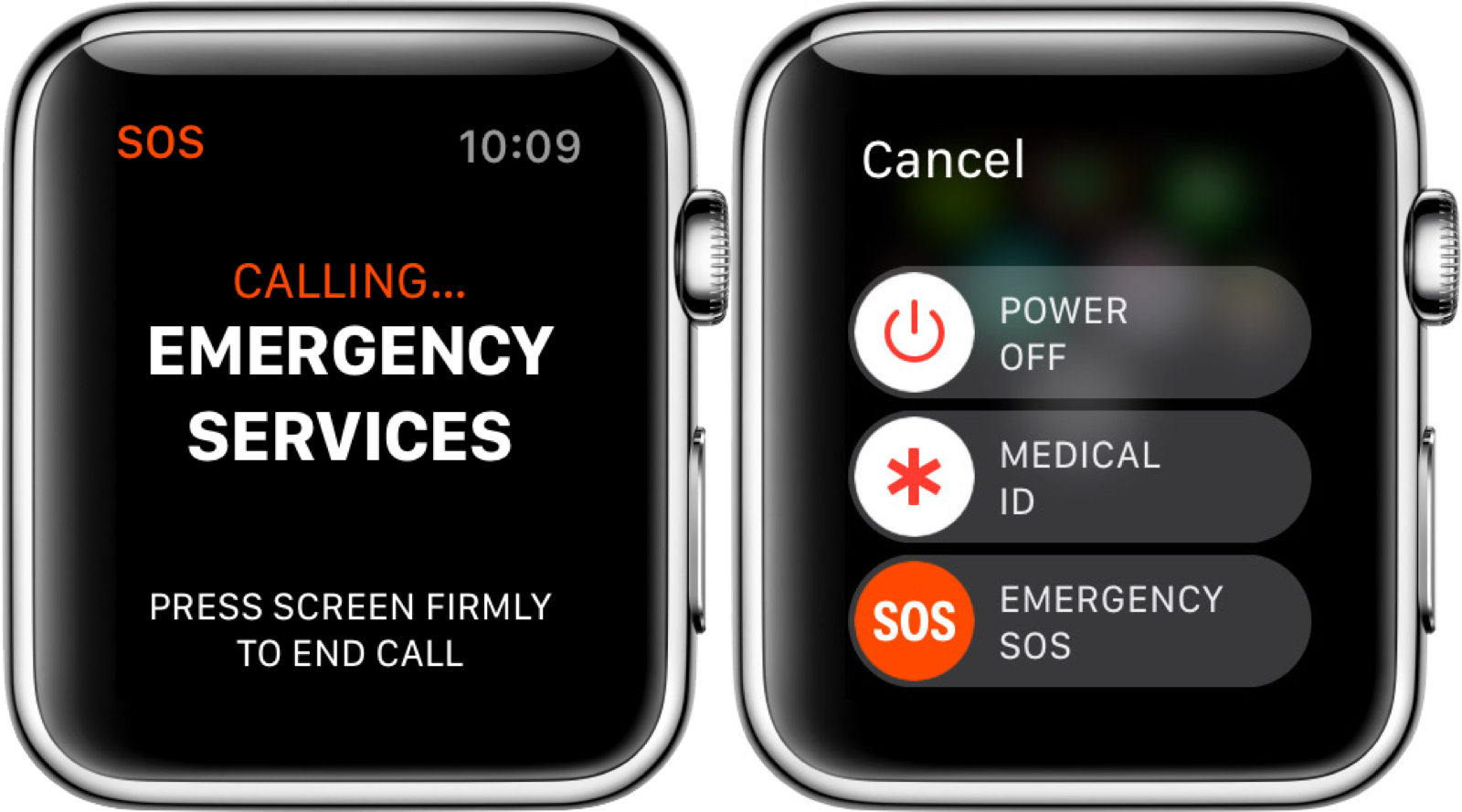 What Apple Watch emergency sos looks like.