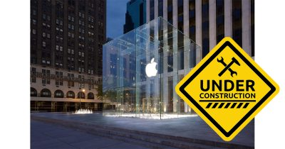 5th Ave Apple Store glass cube being removed temporarily during construction