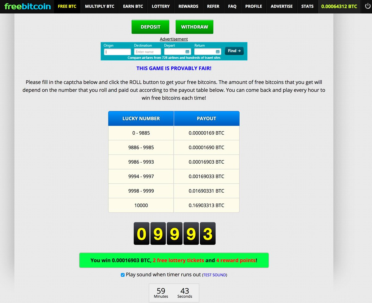 Screenshot from FreeBitco.in with third tier prize