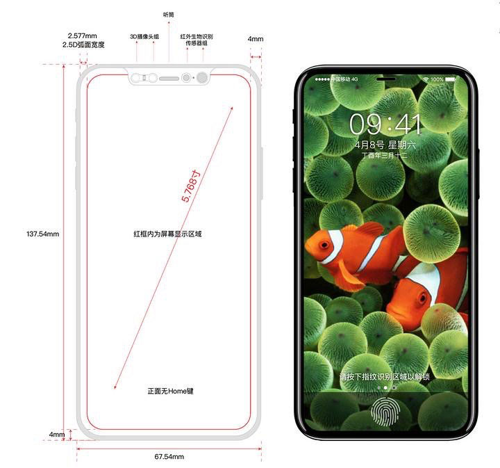 """""""Leaked"""" iPhone X Front"""