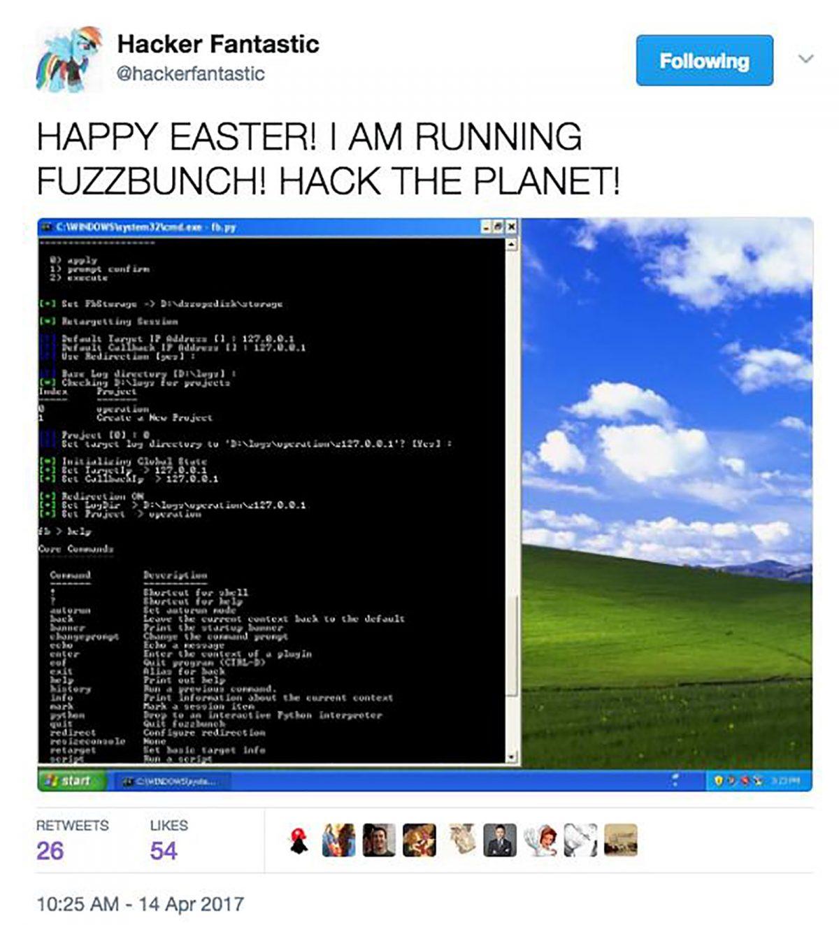 Screenshot from FUZZBUNCH cache dump tweet