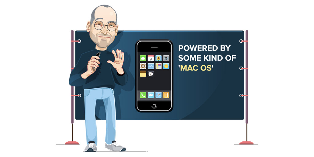 Illustration of Steve Jobs introducing the first iPhone